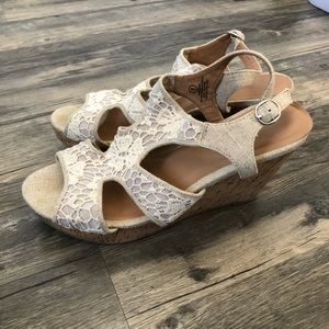 Shoes - Cream wedge sandals
